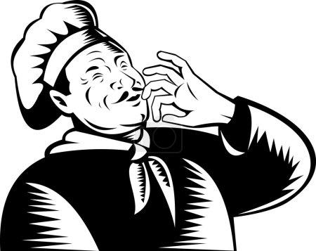 Photo pour Illustration d'un chef, cuisinier ou boulanger fait dans un style de gravure sur bois rétro tenant la main à la bouche soufflant un baiser - image libre de droit