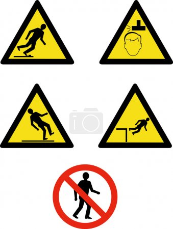 Workplace sign slippery falling fall