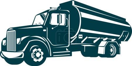 Photo pour Illustration d'un camion de livraison d'huile fait dans un style rétro sur fond isolé - image libre de droit