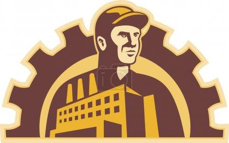 Illustration pour Illustration d'un ouvrier d'usine avec bâtiment d'usine et engrenage mécanique en arrière-plan fait dans un style rétro . - image libre de droit