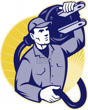 Illustration pour Illustration d'un électricien portant une prise électrique installée à l'intérieur d'un cercle fait dans un style rétro . - image libre de droit