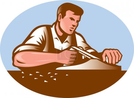 Illustration pour Illustration d'un menuisier travaillant avec un plan lisse réalisé dans un style de gravure sur bois rétro placé à l'intérieur d'une ellipse . - image libre de droit