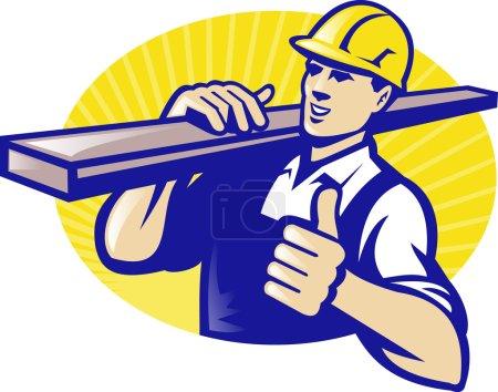 Illustration pour Illustration d'un ouvrier charpentier portant une planche de bois avec les pouces levés dans un style rétro - image libre de droit