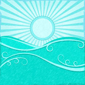 Background with Sea Wave sand Blue Sun