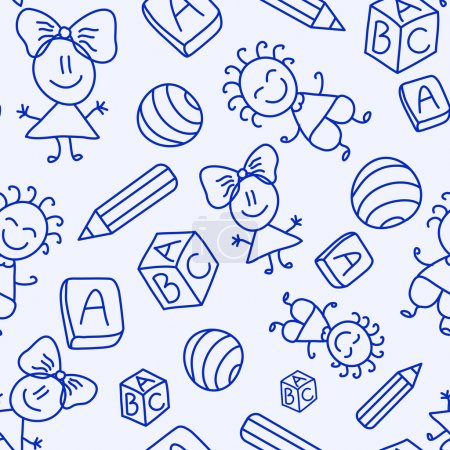 Illustration for Hand drawn seamless pattern with kids, books and pencils. Vector illustration - Royalty Free Image