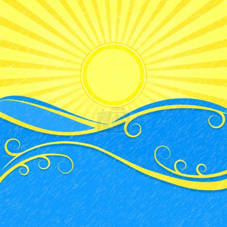 Illustration for Background with Sea Waves and Yellow Sun. Vector Vintage Illustration of Sea Landscape - Royalty Free Image