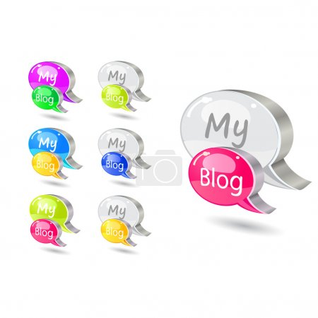 Chat icon set with blog word