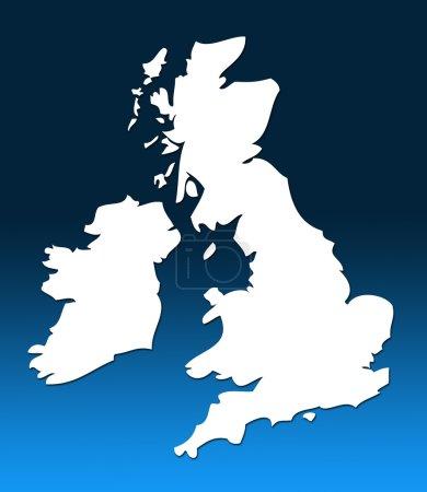 Photo pour Carte de contour blanc du Royaume-Uni sur fond graduée bleu - image libre de droit