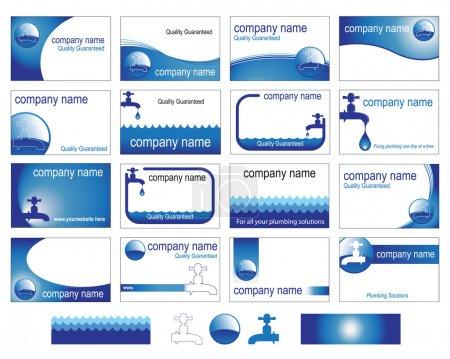 Illustration pour Seize modèles intéressants de cartes de visite pour le commerce de la plomberie ou des affaires . - image libre de droit