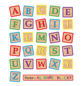 Image of various colorful blocks with the alphabet isolated on a white background