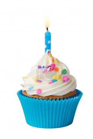 Photo pour Cupcake décoré d'une seule bougie - image libre de droit