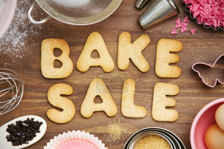 "Photo for Cookies forming the words ""bake sale"" - Royalty Free Image"