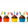 Chocolate cupcakes with a birthday greeting...