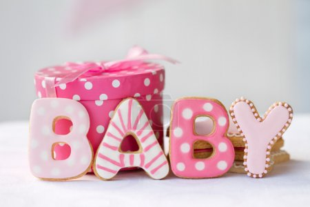 Photo for Cookies decorated for a baby girl - Royalty Free Image
