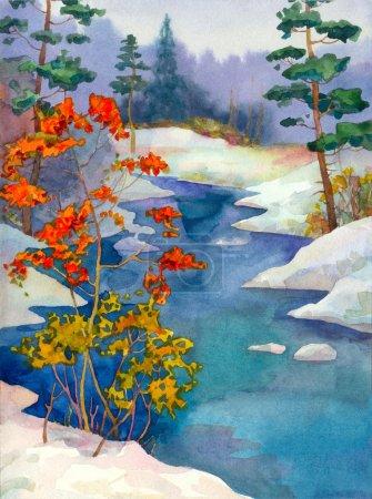 Photo pour Aquarelle paysage. dans la forêt en hiver sur les rives du ruisseau sont des arbres aux feuilles tombées - image libre de droit