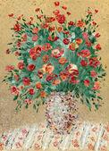 """Постер, картина, фотообои """"Живопись нефтью. Натюрморт с красными цветами"""""""