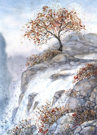 Watercolor landscape. Autumn tree on a steep cliff...