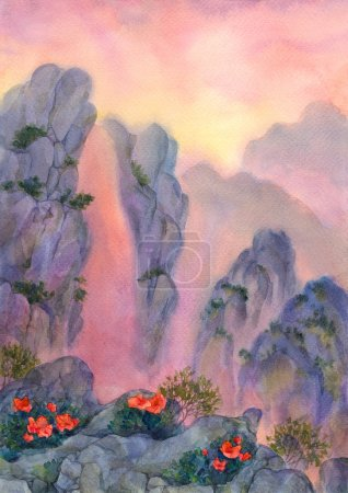 Watercolor landscape. Mountain stream flows down t...