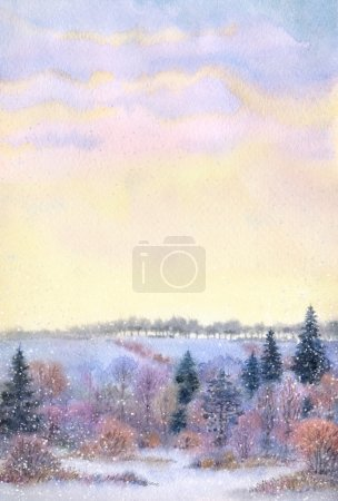 Watercolor frame. Sunset over the winter valley