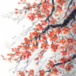Watercolor painting. Hanging branches of fragrant cherry blossoms