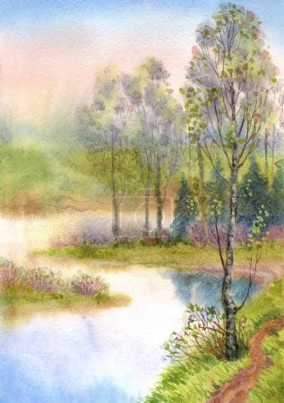 Watercolor landscape. Spring trees on a quiet lake