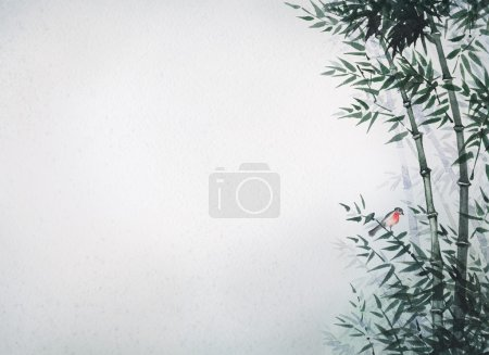 Photo for The picture painted in the traditional Japanese style. The little bird sat on a flexible stalk of bamboo in the wind in the bamboo grove - Royalty Free Image
