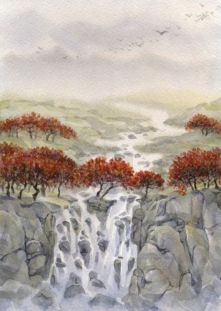 Watercolor landscape. By the autumn the valley pas...