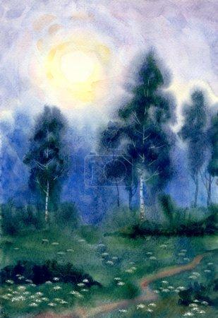 Foto de Acuarela paisaje. noche de paz en el bosque de abedules. la luna llena brilla en el camino - Imagen libre de derechos