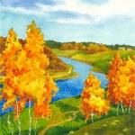 Watercolor landscape. Along the meandering river w...
