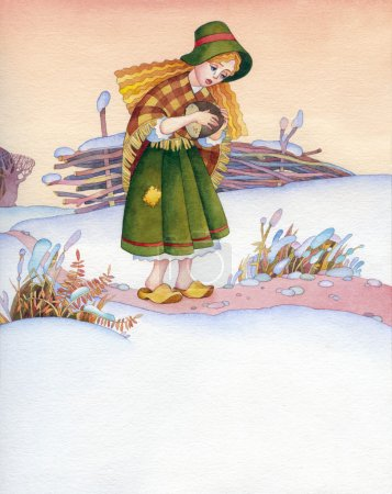 Watercolor illustration. Poor girl is on the winter trail