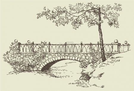 Vector image. Landscape sketch of the branches of ...