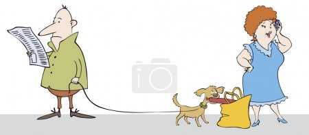 Vector caricature. Funny scene in the street: read...