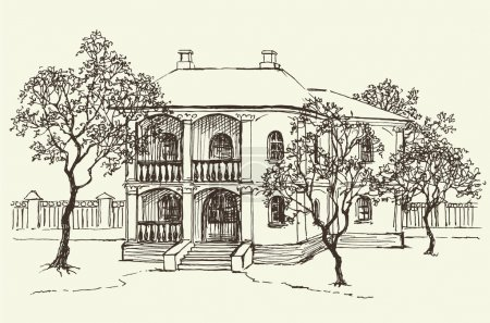 Sketch drawing of the old house among the orchard