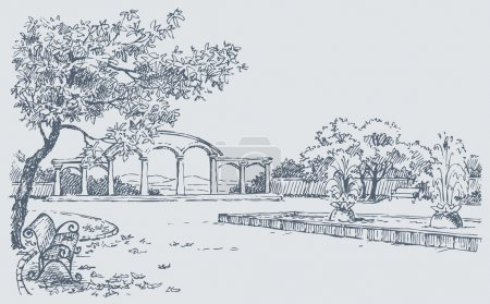 Landscape sketch of autumn park