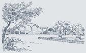 Krajina skica podzimní Park