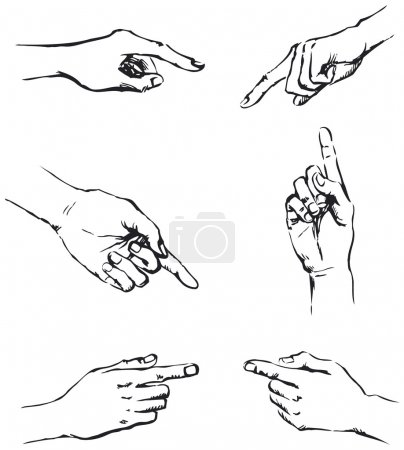 Vector outline of gesticulating hands, pointing at something