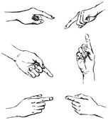 Vector outline of gesticulating hands pointing at something
