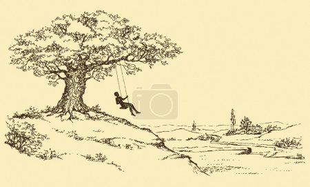 Illustration for Vector Sketch. Resting man riding on a swing tied to the old oak tree growing on a hill above the river valley - Royalty Free Image