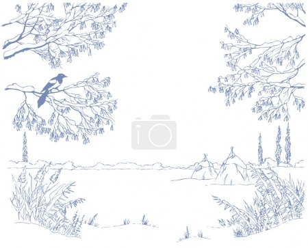 Vector picture-framing. A linear sketch the landsc...