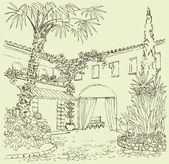 Vector landscape A sketch of the eastern courtyard with flower beds cypress and palm trees