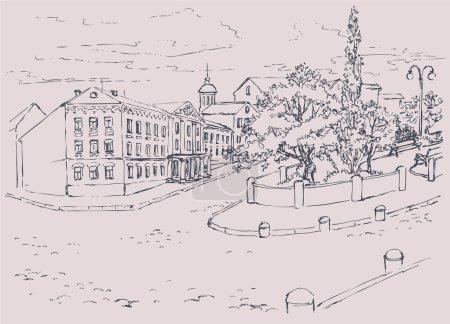 Vector Sketch architectural cityscape. Park avenue