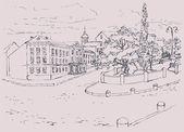 Vector Sketch architectural cityscape Park avenue