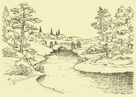 Vector landscape. Bridge over the river in the forest