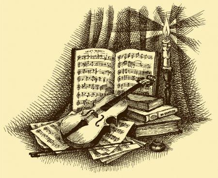 Illustration pour Vignette vectorielle. Dessinez une nature morte d'un violon sur un fond de vieux livres et de pages avec des notes sur le chandelier et l'encre - image libre de droit