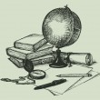Vector still life subjects of geography: a globe, ...