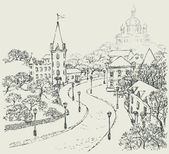 Vector Sketch of the city landscape of the old street