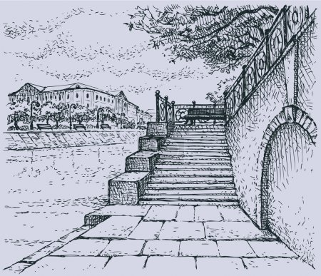 Vector cityscape. Architectural motif of old stone quay