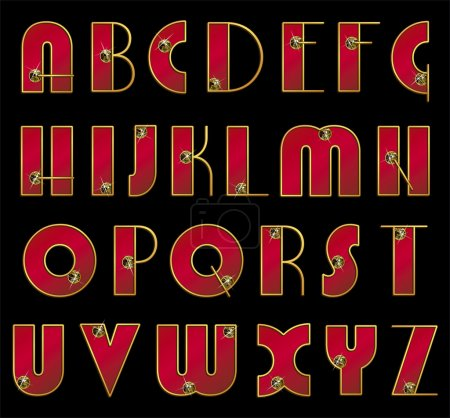 ABC. Vector font. Ornate initials red color in gold