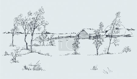 Vector rural landscape. A cold winter day