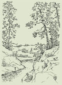 Vector landscape Sketch a mountain stream flowing between rocky shores with spreading trees